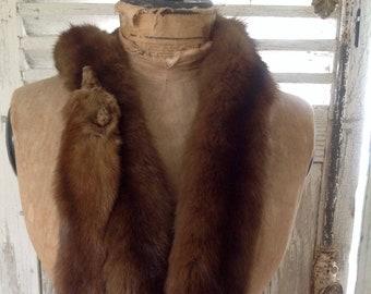 Stunning Vintage 1940s mink stole 3 pelts