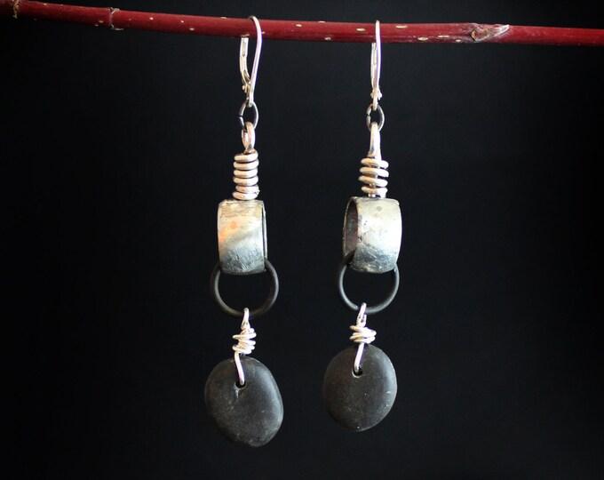 Silver Riverstone earrings