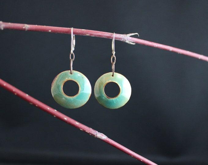 Blue green Enamel earrings