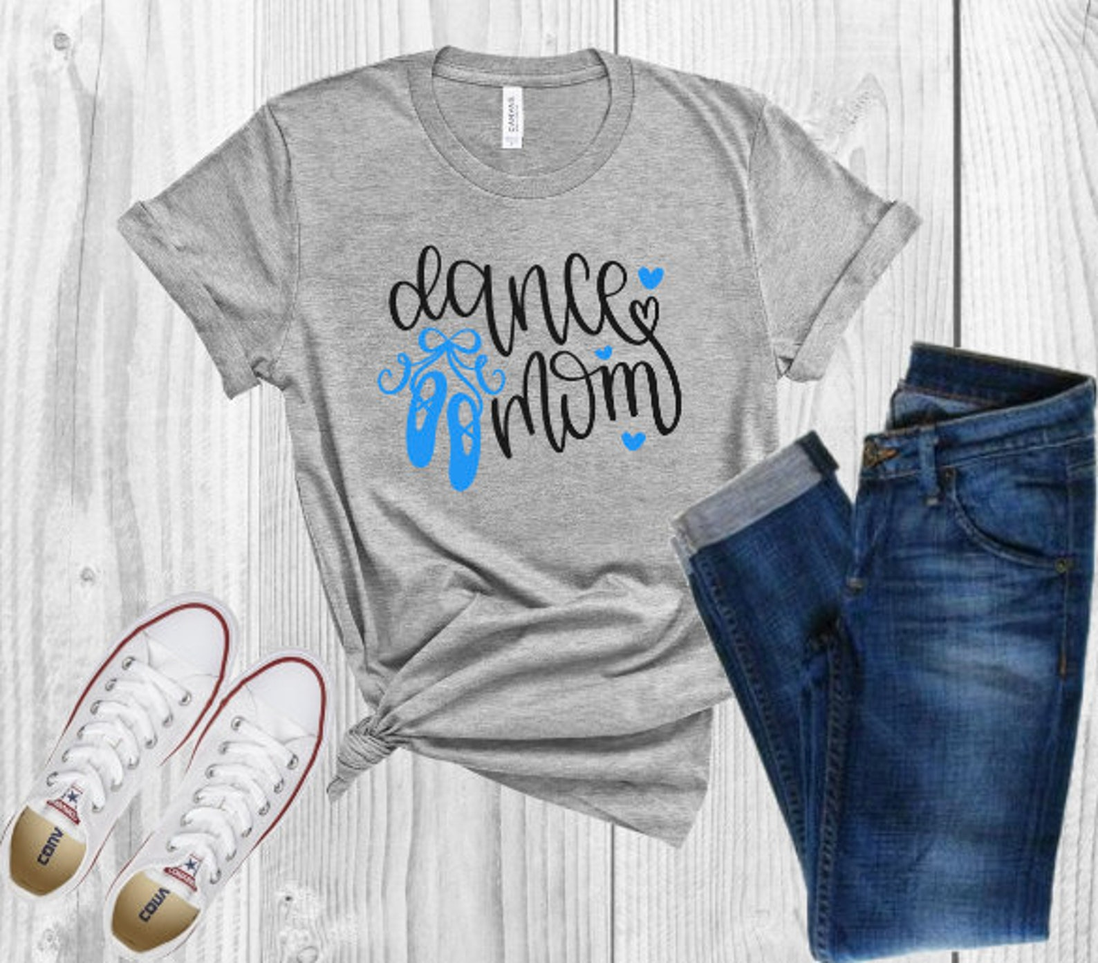 dance mom tee shirt , dance mom shirt , ballet shoes tee , dance t shirt with hearts , proud mom shirt , mom t shirt , mom of da