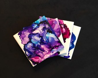 Handmade Tile Coasters gold and white Alcohol Ink Art Coasters Drink Coasters Pink Ceramic Coasters brown Gift for Home or Office