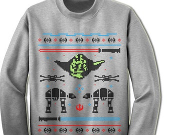 Yoda Christmas Sweater Gift Idea Geek Ugly Sweater Star Wars Christmas Sweatshirt. Ugly Christmas Sweater Contest.