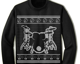 Drums Ugly Christmas Sweater. Gift For Drummer Ugly Sweater. Musical Band. Merry Christmas. Sweatshirt. Ugly Christmas Sweater. Party.