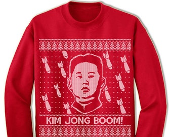 Kim Jong Boom Ugly Christmas Sweater. Ugly Sweater. Merry Christmas. Christmas Sweatshirt. Ugly Christmas Sweater. Party.