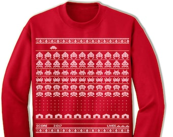Geeky Christmas. Vintage Computer Game Ugly Sweater. Gamer. Merry Christmas. Christmas Sweatshirt. Ugly Christmas Sweater. Party.