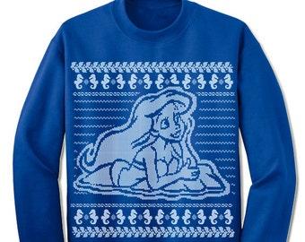 Mermaid Ugly Christmas Sweater. Holiday Christmas Sweatshirt. Christmas Party Contest Sweater Costume.