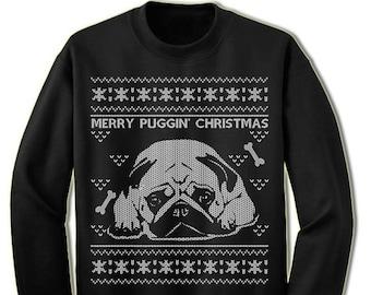 439e049f440e Pug Ugly Christmas Sweater. Merry Puggin Christmas Sweater Sweatshirt. Pet  Dog Owner Lover Gift.