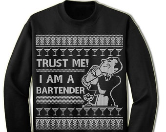 Bartender Ugly Christmas Sweater. Ugly Sweater. Merry Christmas. Christmas Sweatshirt. Ugly Christmas Sweater. Party.