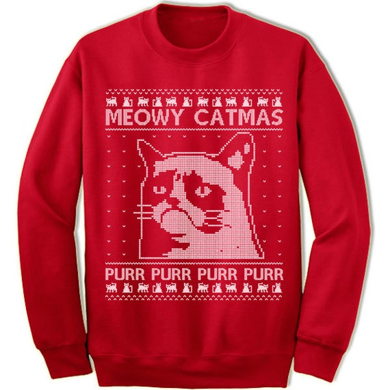 Meowy Christmas Sweater.Meowy Catmas Christmas Sweater Sweatshirt Purr Purr Meow Cat Fur Kitty Funny Cat Ugly Sweater Sweatshirt Jumper Ugly Pullover Christmas Gift
