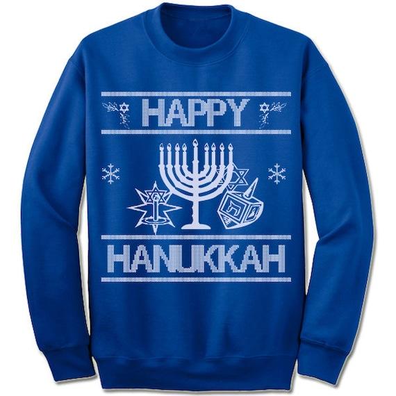8f518933b Happy Hanukkah Ugly Sweater. Chanukah Sweater. Menorah. | Etsy