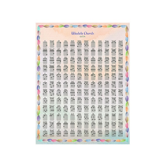 Ukulele Chords Chart Gcea Rainbow Leaves Art Print Etsy