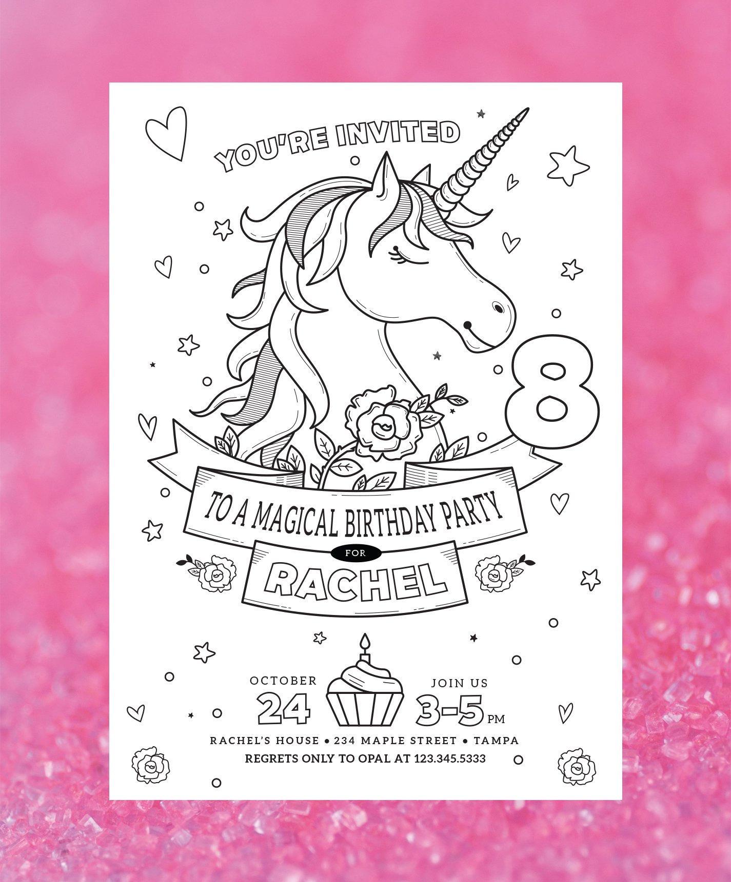 Coloring page unicorn birthday invitation color in unicorn invite coloring party invite