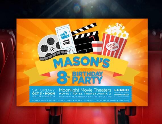 Movie Birthday Party Invite Movie Theater Birthday Invitation Etsy