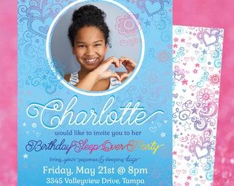 Rainbow Doodle Pattern Sleep Over Birthday Invite with Photo