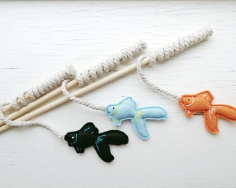 Cat Teaser Toys - Fish Pole - Cat Wand Toy - Organic Catnip and bells
