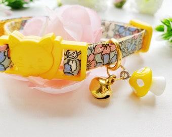 Mushroom Cat Collar, Yellow Mushroom Collar Charm, Cat Collar with bell, Breakaway Cat Collar, Adjustable Collar For Cats, Floral Cat Collar