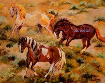 00288f61d Trio of Mustangs Wild Horses Nevada Herd Oil Painting Giclee Print
