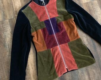 Vintage 70s Clothing Color Block Zip Up Blazer Jacket Coat 67827b55c03