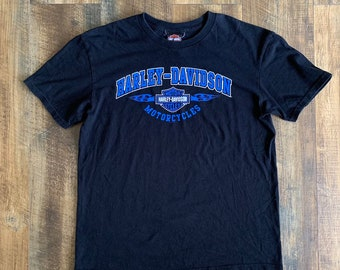 ec1aedfb1 Harley Davidson Motorcycle Bakersfield California Black Blue Tee T-shirt  Size Large