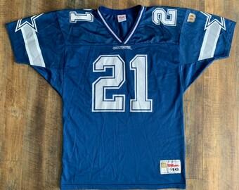 aff16f22707fc Vintage 90s Wilson Dallas Cowboys Deion Sanders #21 Jersey Shirt Size Large