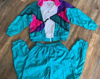 28d91e769d Vintage 90s Clothing Windbreaker Tracksuit Jacket Jogger Pants Size Large