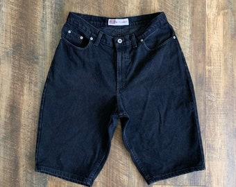 b806136f0b Vintage 90s Clothing Faded Glory Black High Waisted Denim Mom Jean Shorts  Size 12