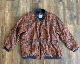 600a6589830 Vintage 80s Casual Corner Silk Leopard Padded Shoulders Windbreaker Zip Up  Jacket Size 1X