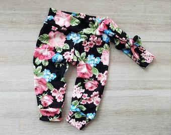 1606d616187 Floral baby leggings black floral leggings pink and black floral baby girl  leggings toddler girl leggings easter baby leggings