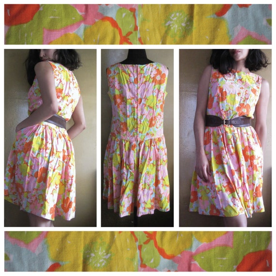 Vintage - Floral Skort Dress - Women's Medium / La