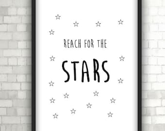 Reach For The Stars, Nursery Print, Baby Gift, Home Decor, Black and White Art