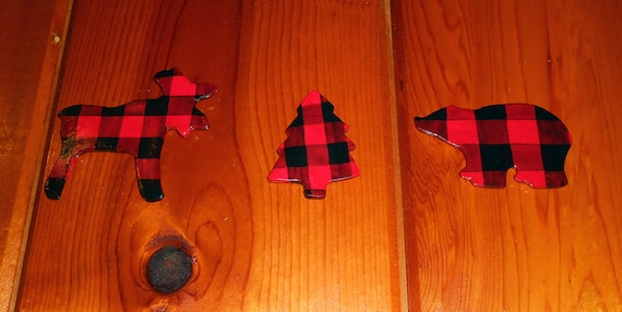 Red Plaid Wall Art Cabin Themed Set Of 3 Etsy