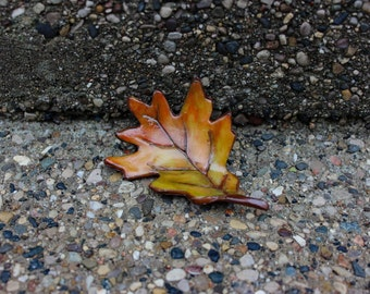 Handsculpted Clay Autumn Oak Leaf Magnet