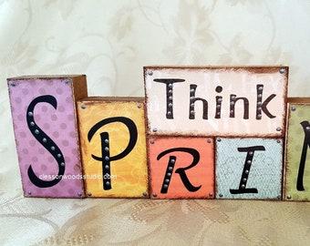 Think Spring Reversible Wood Word Blocks(SPG109)