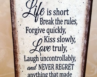Life Is Short Quote Etsy