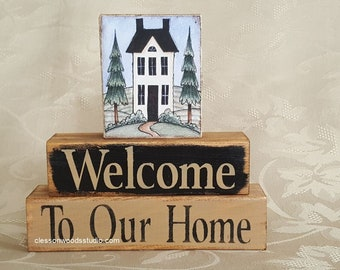 Welcome To Our Home Saltbox House Wood Block Stack (SPG150)