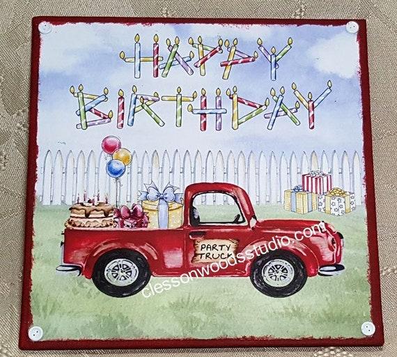 Happy Birthday Red Truck 5x5 Canvas