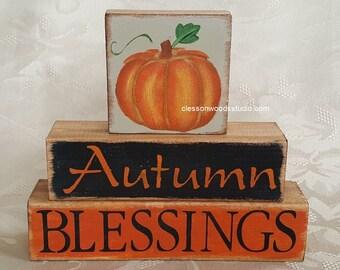 Autumn Blessings Pumpkin Wood Block Stack (FWB114)