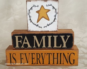 Family Is Everything Star Wood Block Stack (SPG151)