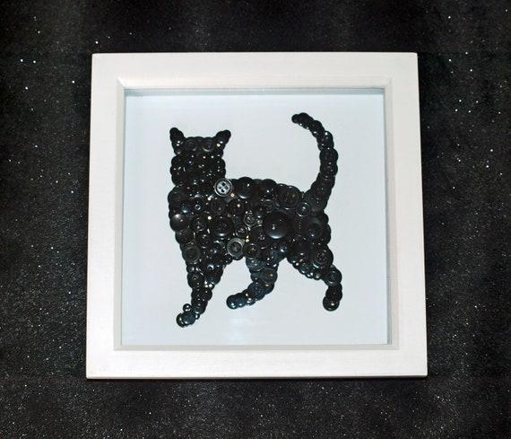 Cat Wall Art Button Art Button Frame Cat Lover Cat Gift   Etsy