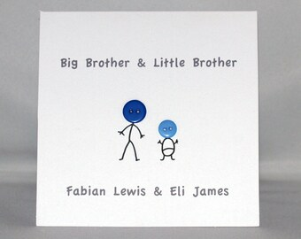 New Baby Card, Big Brother, Big Sister, Little Brother, Little Sister, Button Art Card, Greeting Card, Personalised Card, Unique Card, Art