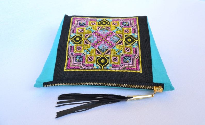 ea5b8b4a9e02 Makeup bag Black and turquoise, Hand Embroidered Geometric cosmetic bag  with Tassel, Small canvas zipper pouch, Evening clutch