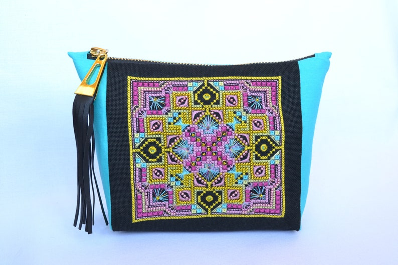 eb21391ed911 Mandala Makeup bag Black and turquoise, Hand Embroidered Geometric cosmetic  bag with Tassel, Small canvas zipper pouch, Evening clutch