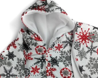 Size 4  red gray snowflake soft cuddle minky fleece car seat poncho - winter kids children's poncho -infant poncho - toddler poncho