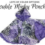 Made to order reversible double minky fleece car seat poncho -  children's poncho boys girls -infant poncho - toddler poncho - car seat cape