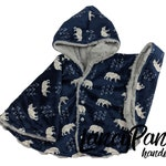 Made to order reversible double minky silver bear chinchilla car seat poncho -  infant poncho - toddler poncho - car seat cape
