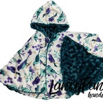 Made to order reversible floral bird minky  car seat poncho -  infant poncho - toddler poncho - car seat cape