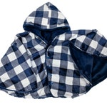 Made to order reversible double minky navy plaid car seat poncho -  infant poncho - toddler poncho - car seat cape - car seat cover jacket