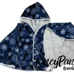 Made to order reversible double minky silver lattice dandelion car seat poncho -  infant poncho - toddler poncho - car seat cape