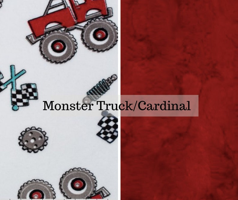 Made to order reversible double minky monster truck cardinal image 0