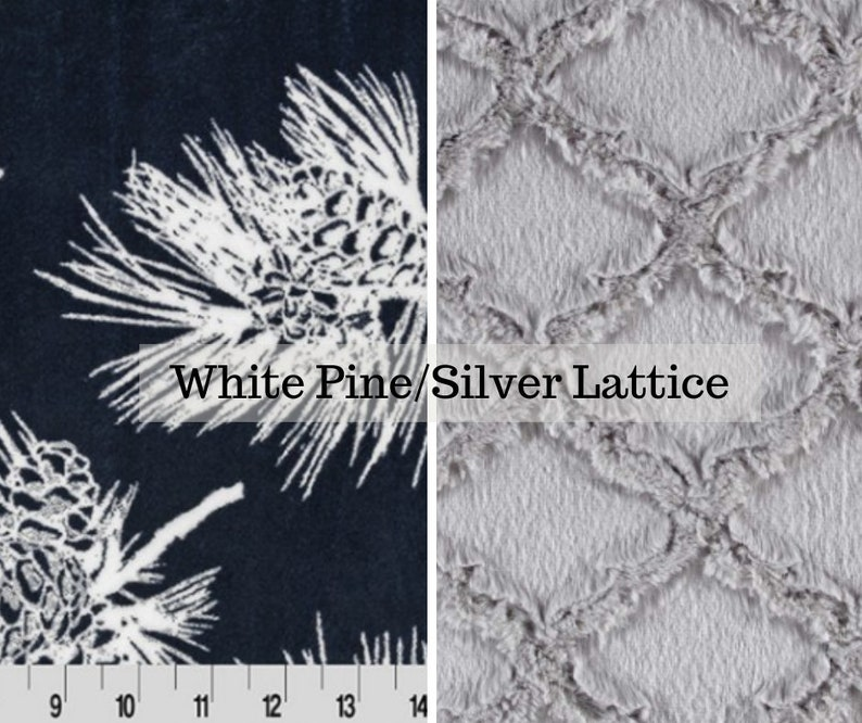 Made to order reversible double minky white pine silver car image 0